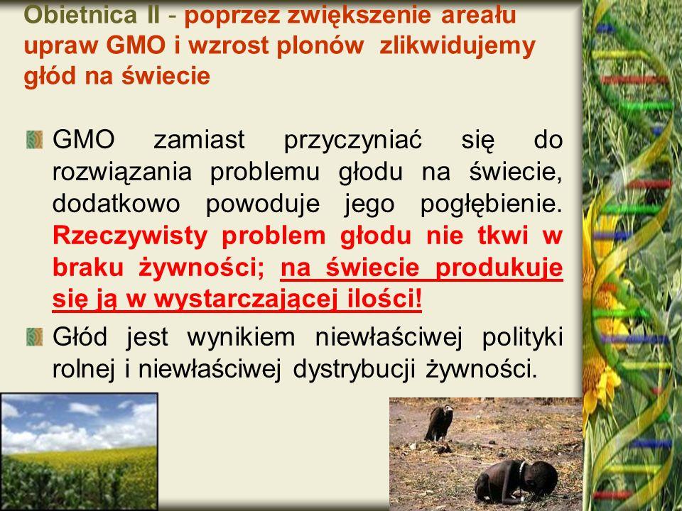 Obietnica II - poprzez zwiększenie areału upraw GMO i wzrost plonów zlikwidujemy głód na świecie