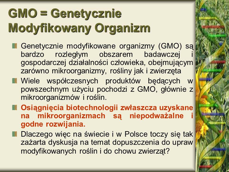 GMO = Genetycznie Modyfikowany Organizm