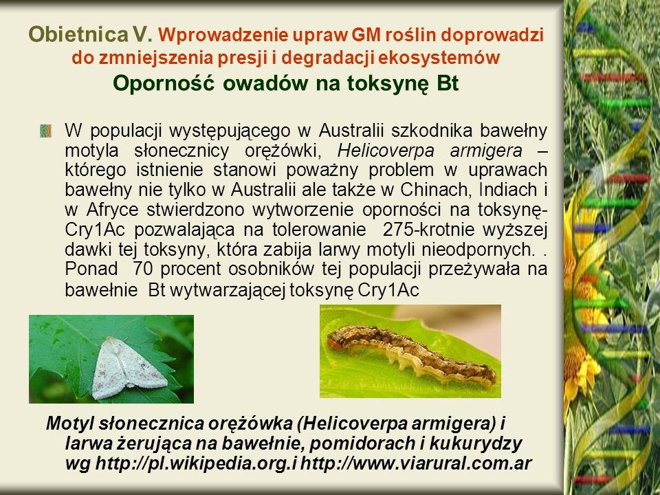 Obietnica V. Wprowadzenie upraw GM roślin doprowadzi do zmniejszenia presji i degradacji ekosystemów Oporność owadów na toksynę Bt
