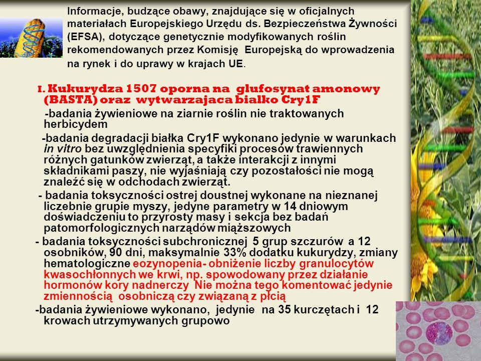 -badania żywieniowe na ziarnie roślin nie traktowanych herbicydem