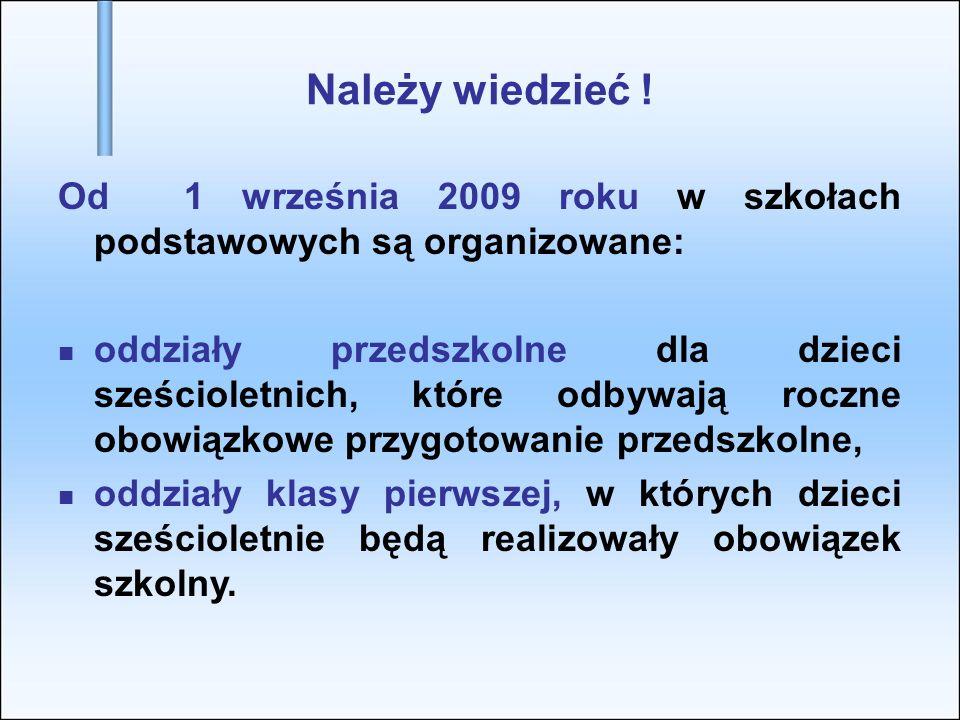Należy wiedzieć ! Od 1 września 2009 roku w szkołach podstawowych są organizowane: