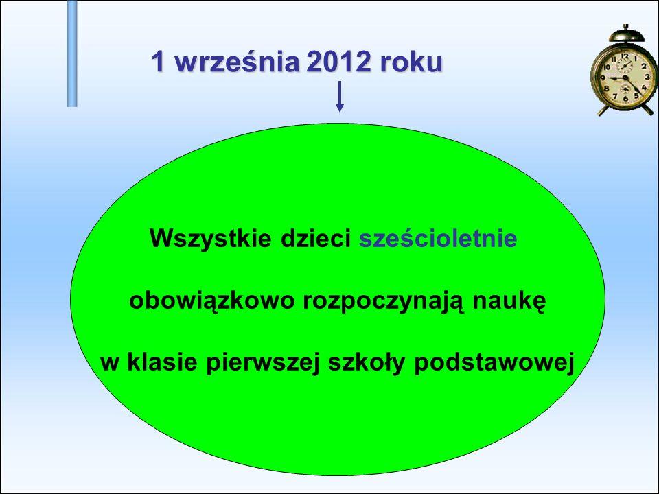 1 września 2012 roku Wszystkie dzieci sześcioletnie