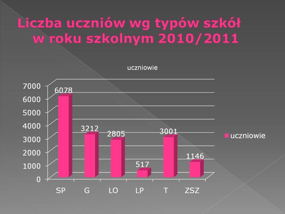 Liczba uczniów wg typów szkół w roku szkolnym 2010/2011