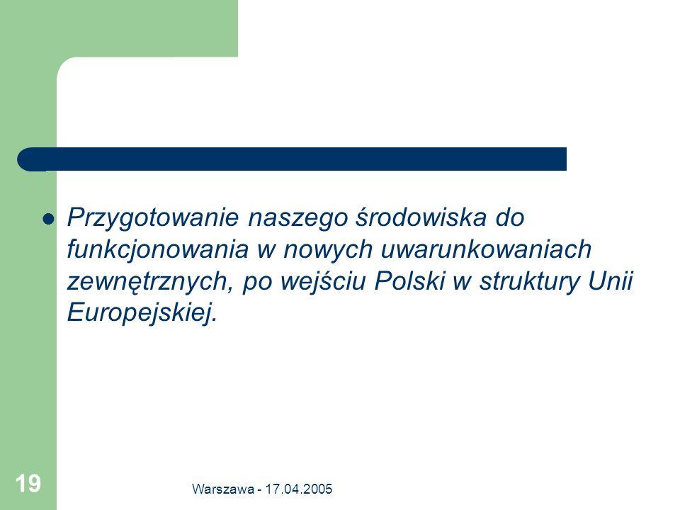 Przygotowanie naszego środowiska do funkcjonowania w nowych uwarunkowaniach zewnętrznych, po wejściu Polski w struktury Unii Europejskiej.