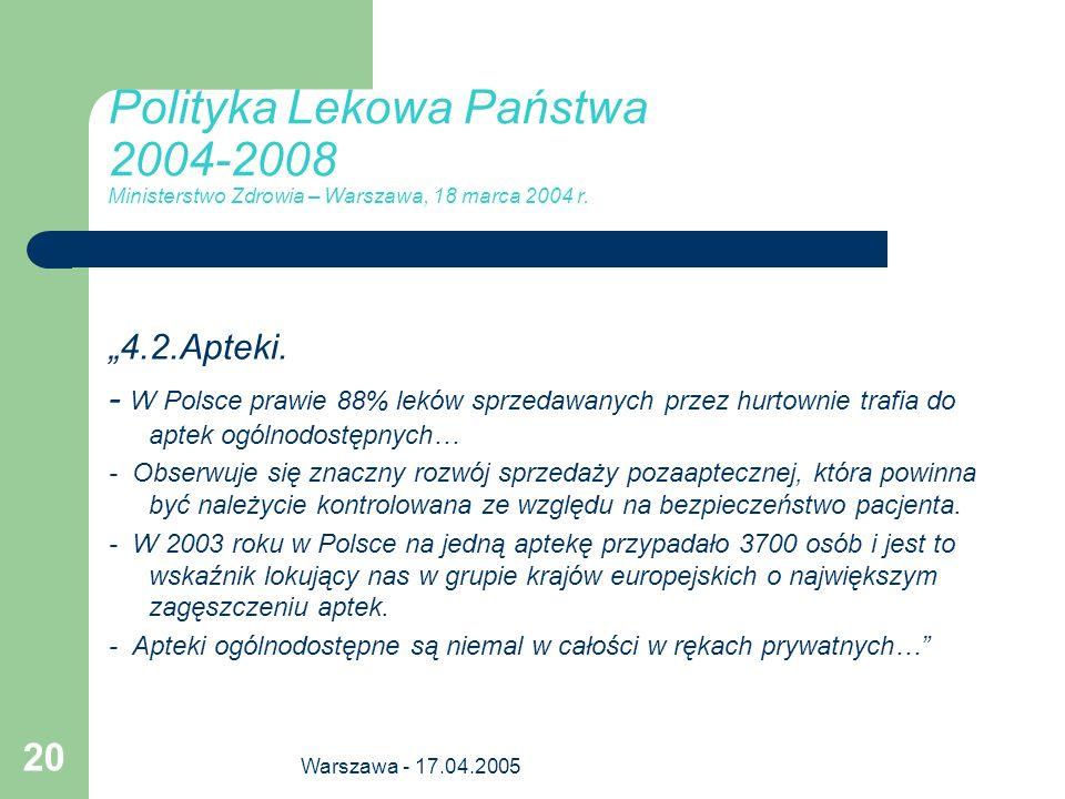 Polityka Lekowa Państwa 2004-2008 Ministerstwo Zdrowia – Warszawa, 18 marca 2004 r.