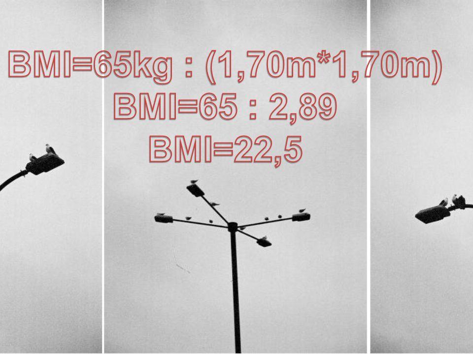 BMI=65kg : (1,70m*1,70m) BMI=65 : 2,89 BMI=22,5