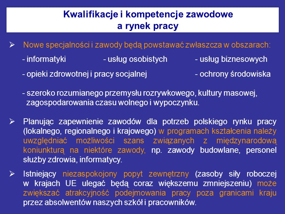 Kwalifikacje i kompetencje zawodowe a rynek pracy