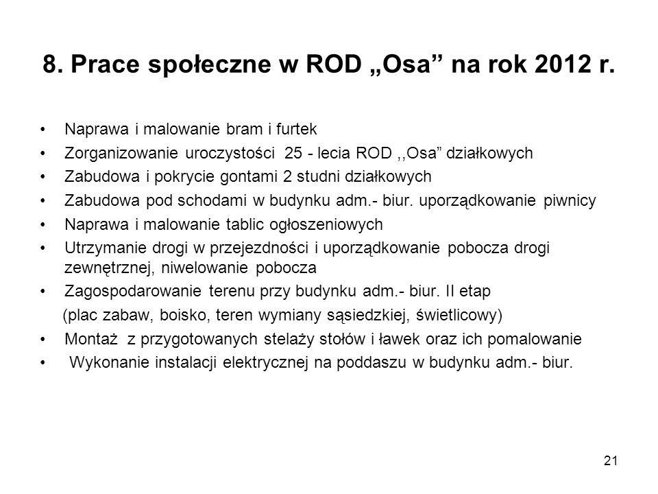 """8. Prace społeczne w ROD """"Osa na rok 2012 r."""