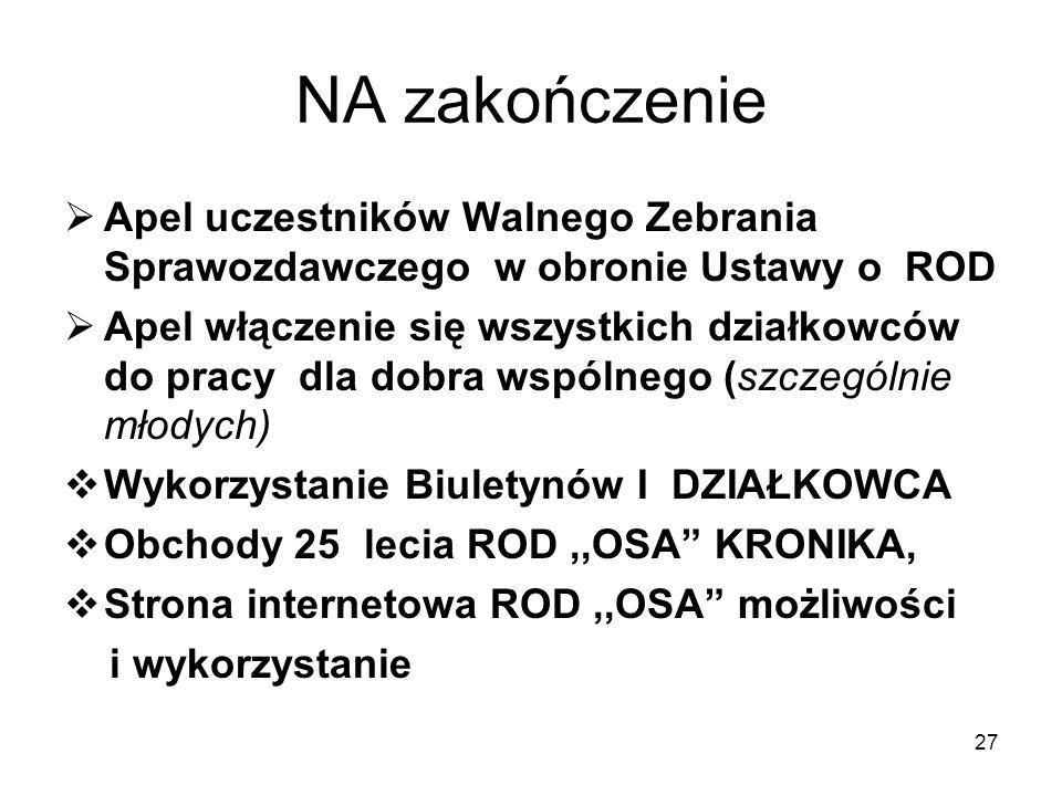 NA zakończenieApel uczestników Walnego Zebrania Sprawozdawczego w obronie Ustawy o ROD.