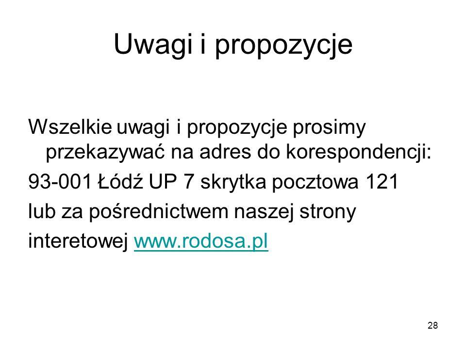Uwagi i propozycje Wszelkie uwagi i propozycje prosimy przekazywać na adres do korespondencji: 93-001 Łódź UP 7 skrytka pocztowa 121.