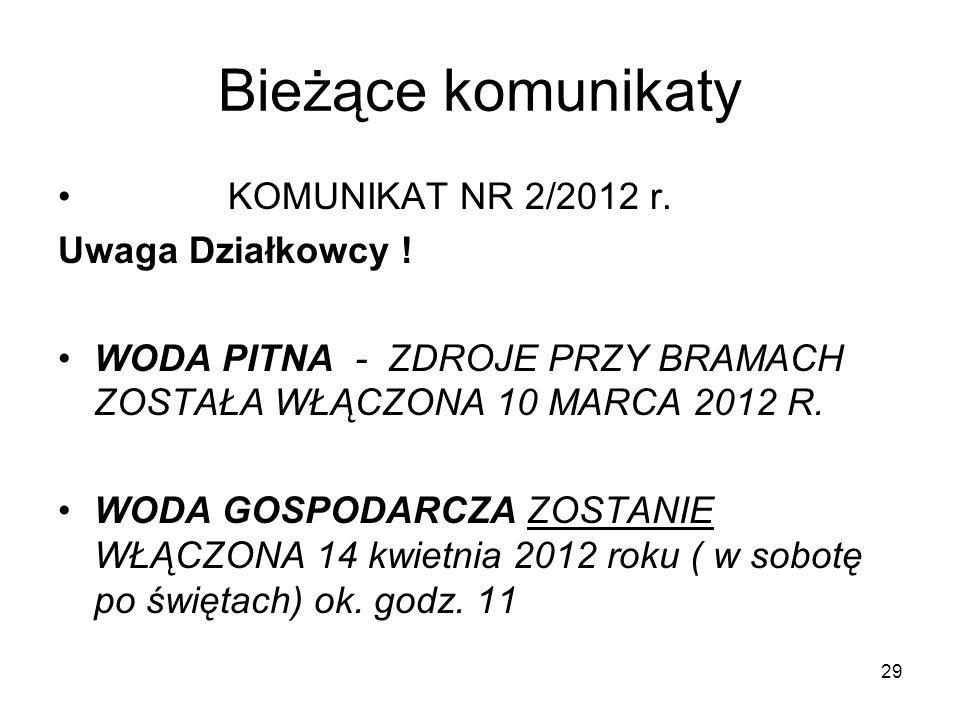 Bieżące komunikaty KOMUNIKAT NR 2/2012 r. Uwaga Działkowcy !