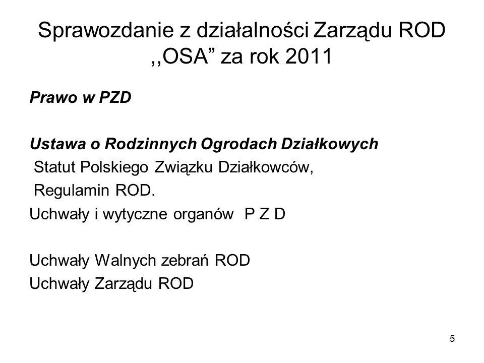 Sprawozdanie z działalności Zarządu ROD ,,OSA za rok 2011