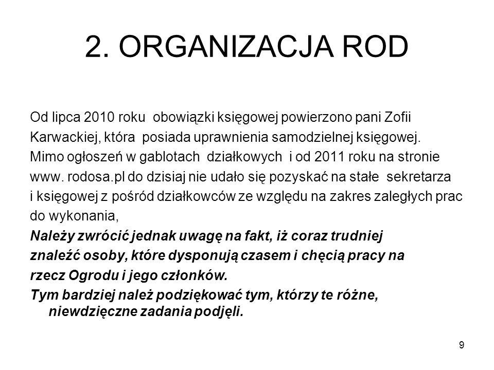 2. ORGANIZACJA RODOd lipca 2010 roku obowiązki księgowej powierzono pani Zofii. Karwackiej, która posiada uprawnienia samodzielnej księgowej.