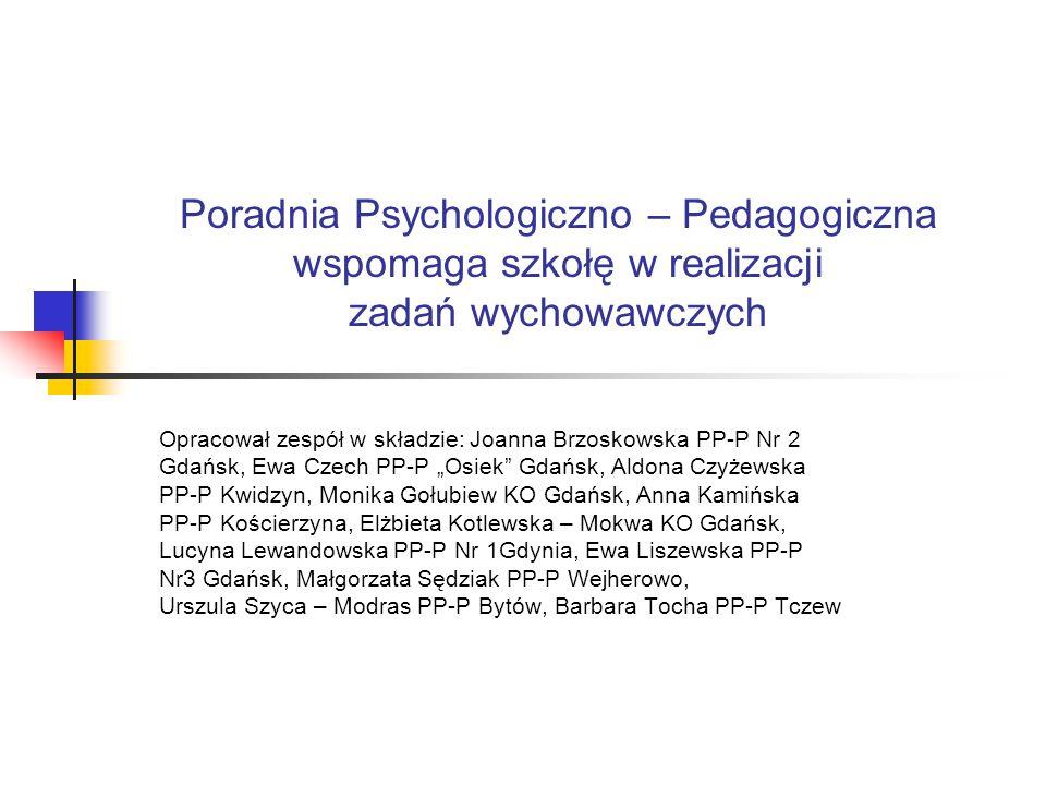 Poradnia Psychologiczno – Pedagogiczna wspomaga szkołę w realizacji zadań wychowawczych