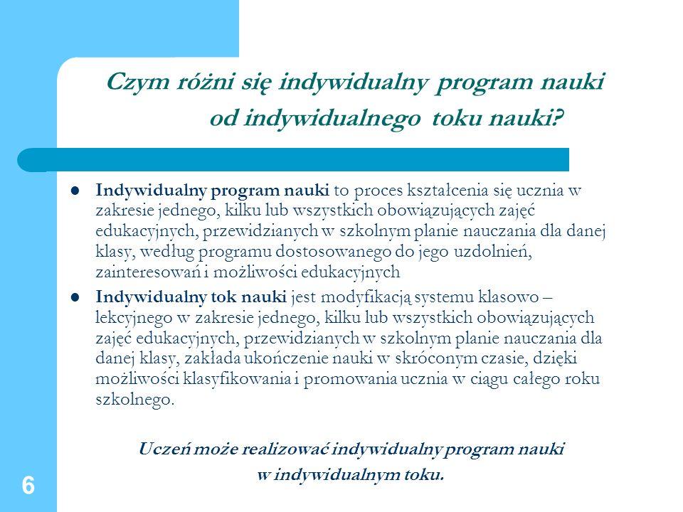Uczeń może realizować indywidualny program nauki