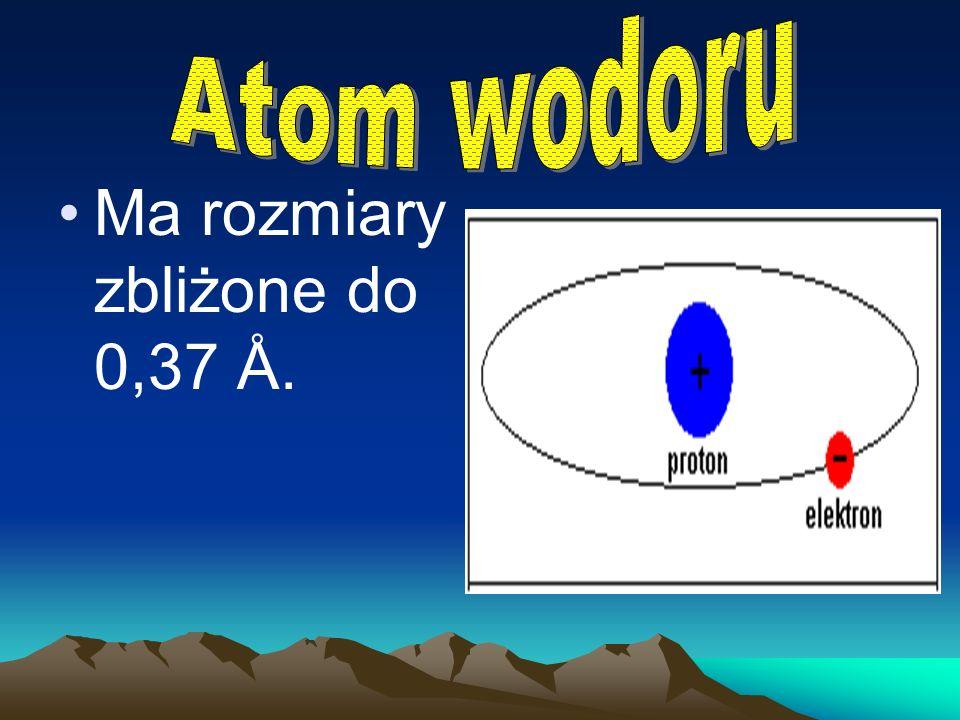 Atom wodoru Ma rozmiary zbliżone do 0,37 Å.