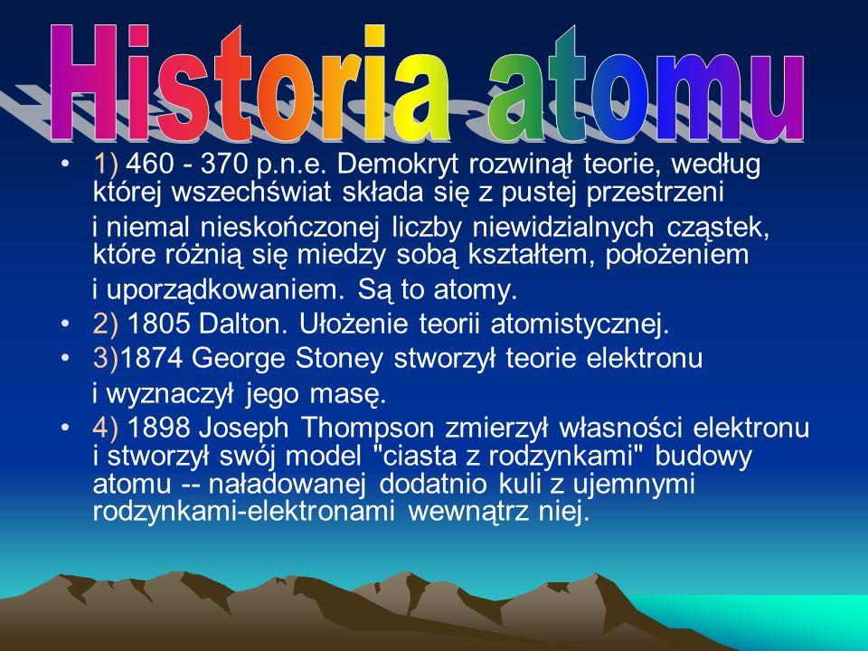 Historia atomu 1) 460 - 370 p.n.e. Demokryt rozwinął teorie, według której wszechświat składa się z pustej przestrzeni.
