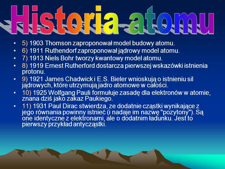 Historia atomu 5) 1903 Thomson zaproponował model budowy atomu.
