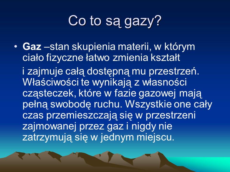 Co to są gazy Gaz –stan skupienia materii, w którym ciało fizyczne łatwo zmienia kształt.