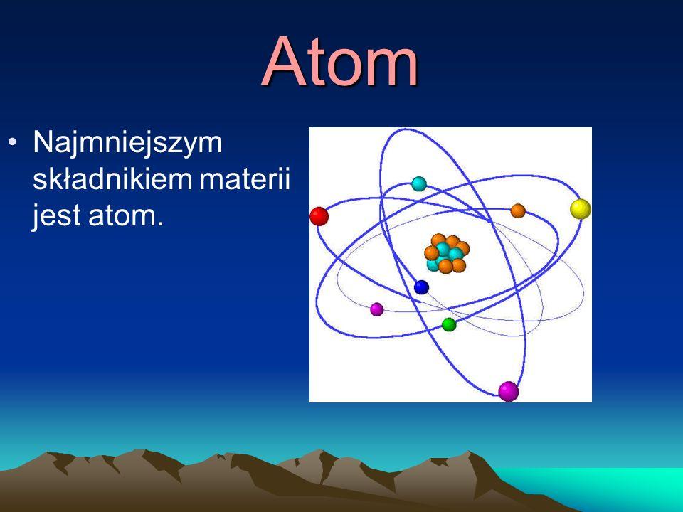Atom Najmniejszym składnikiem materii jest atom.