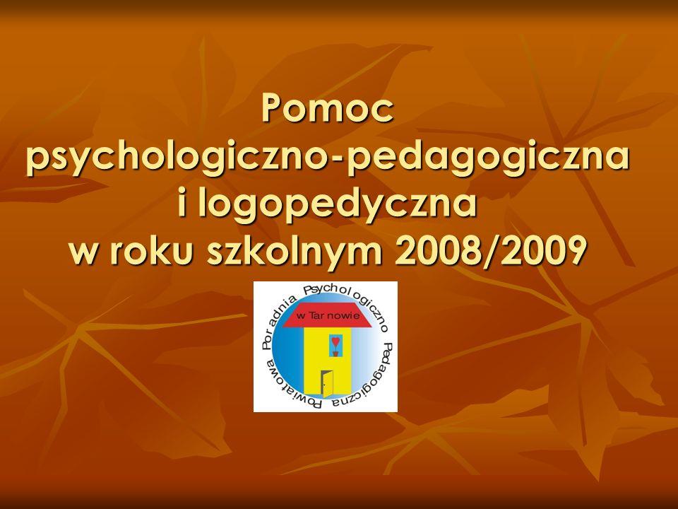 Pomoc psychologiczno-pedagogiczna i logopedyczna w roku szkolnym 2008/2009