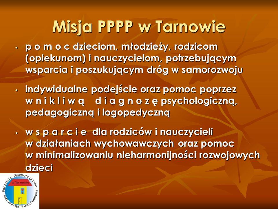 Misja PPPP w Tarnowie p o m o c dzieciom, młodzieży, rodzicom (opiekunom) i nauczycielom, potrzebującym wsparcia i poszukującym dróg w samorozwoju.