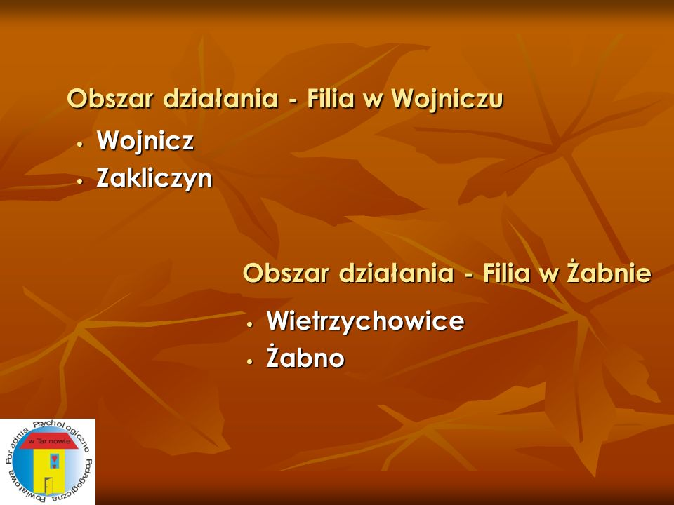 Obszar działania - Filia w Wojniczu