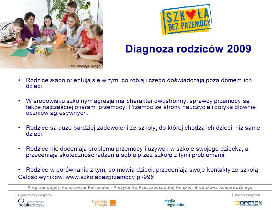Diagnoza rodziców 2009 Rodzice słabo orientują się w tym, co robią i czego doświadczają poza domem ich dzieci.