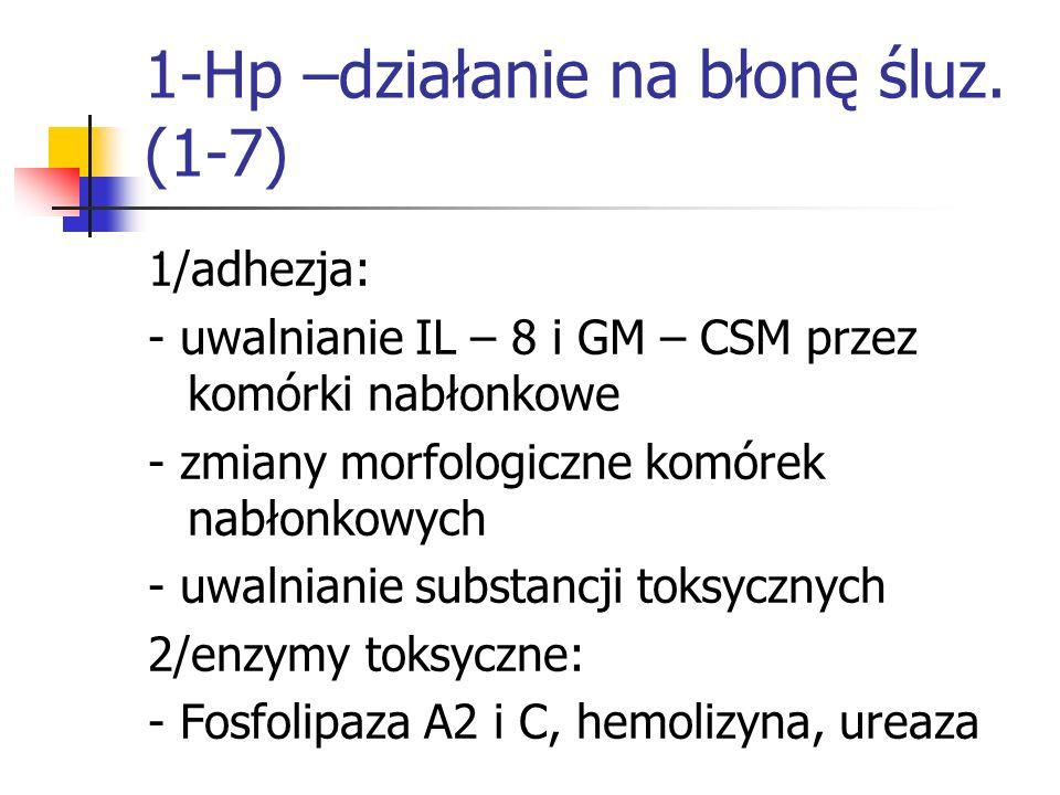 1-Hp –działanie na błonę śluz. (1-7)