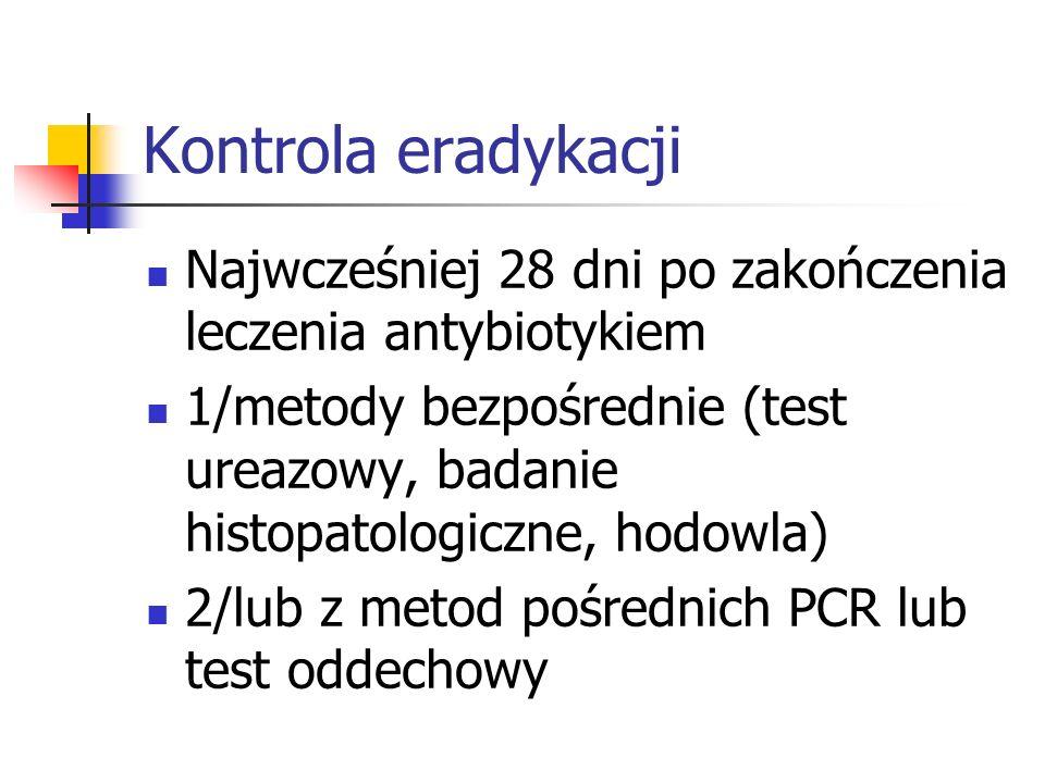 Kontrola eradykacji Najwcześniej 28 dni po zakończenia leczenia antybiotykiem.