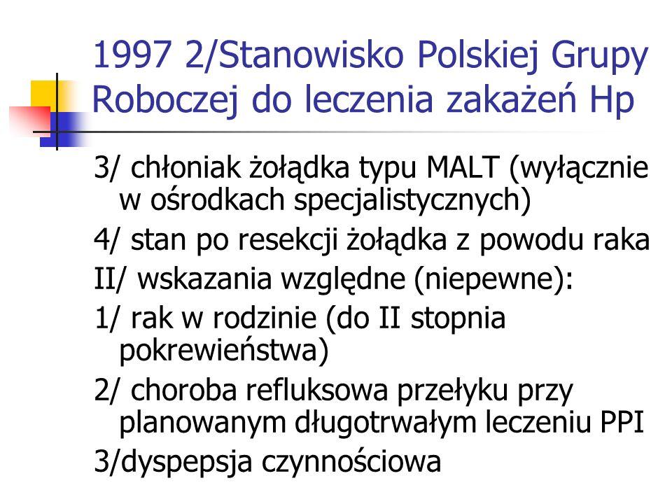 1997 2/Stanowisko Polskiej Grupy Roboczej do leczenia zakażeń Hp