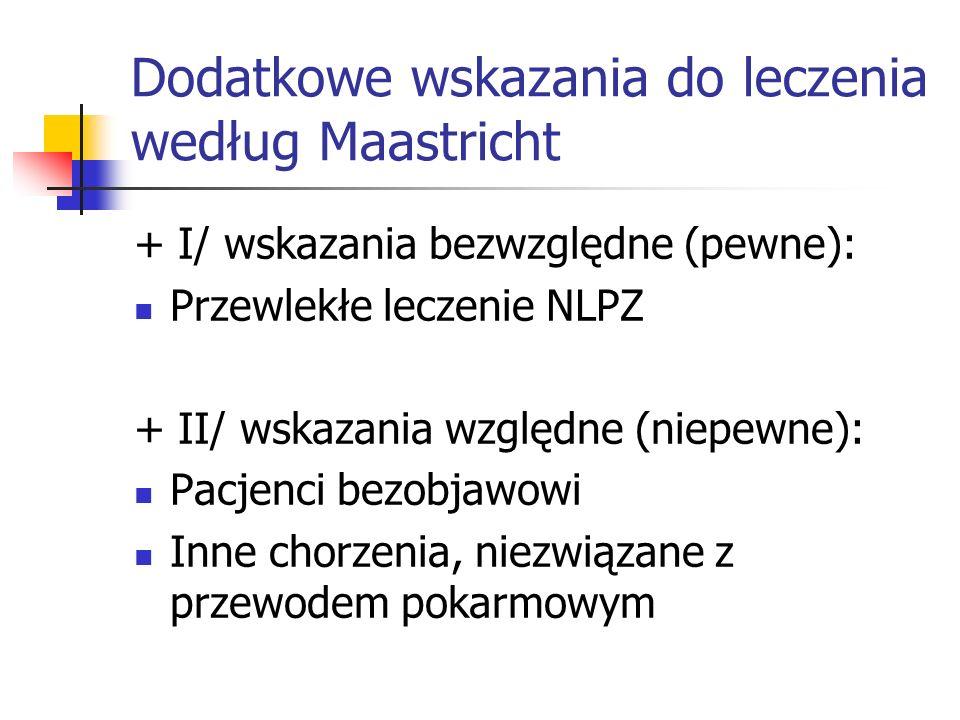 Dodatkowe wskazania do leczenia według Maastricht