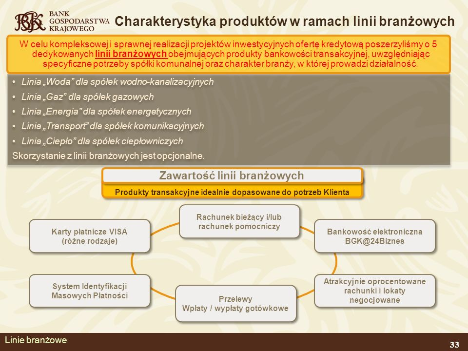 Charakterystyka produktów w ramach linii branżowych