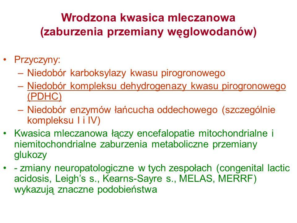Wrodzona kwasica mleczanowa (zaburzenia przemiany węglowodanów)
