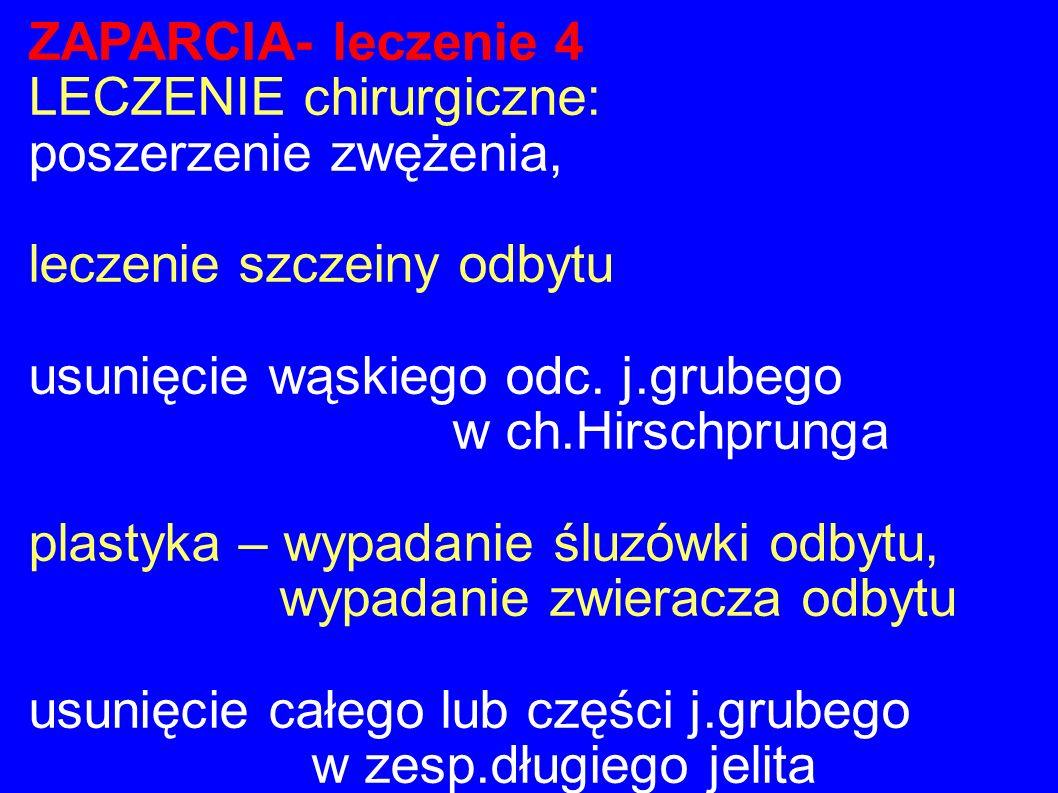 ZAPARCIA- leczenie 4 LECZENIE chirurgiczne: poszerzenie zwężenia, leczenie szczeiny odbytu. usunięcie wąskiego odc. j.grubego.