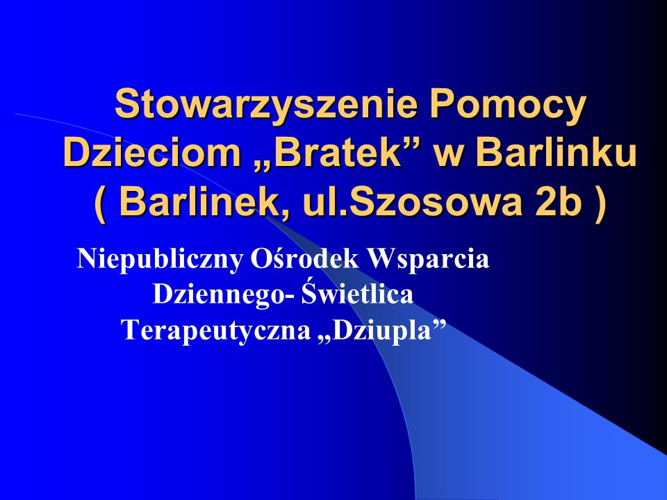 """Stowarzyszenie Pomocy Dzieciom """"Bratek w Barlinku ( Barlinek, ul"""