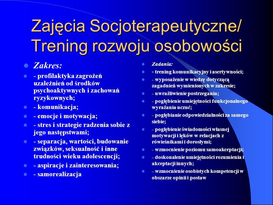 Zajęcia Socjoterapeutyczne/ Trening rozwoju osobowości