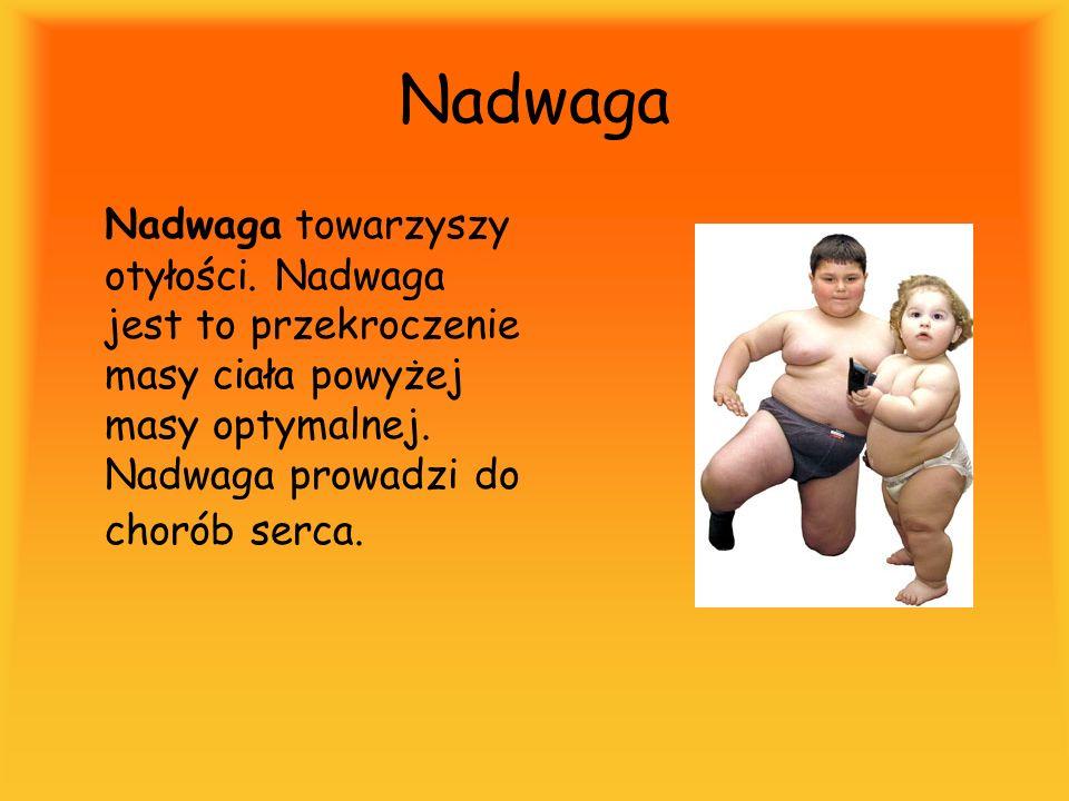 Nadwaga Nadwaga towarzyszy otyłości.