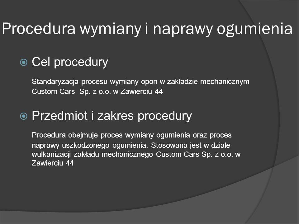 Procedura wymiany i naprawy ogumienia