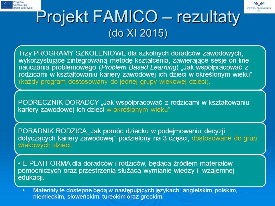 Projekt FAMICO – rezultaty (do XI 2015)