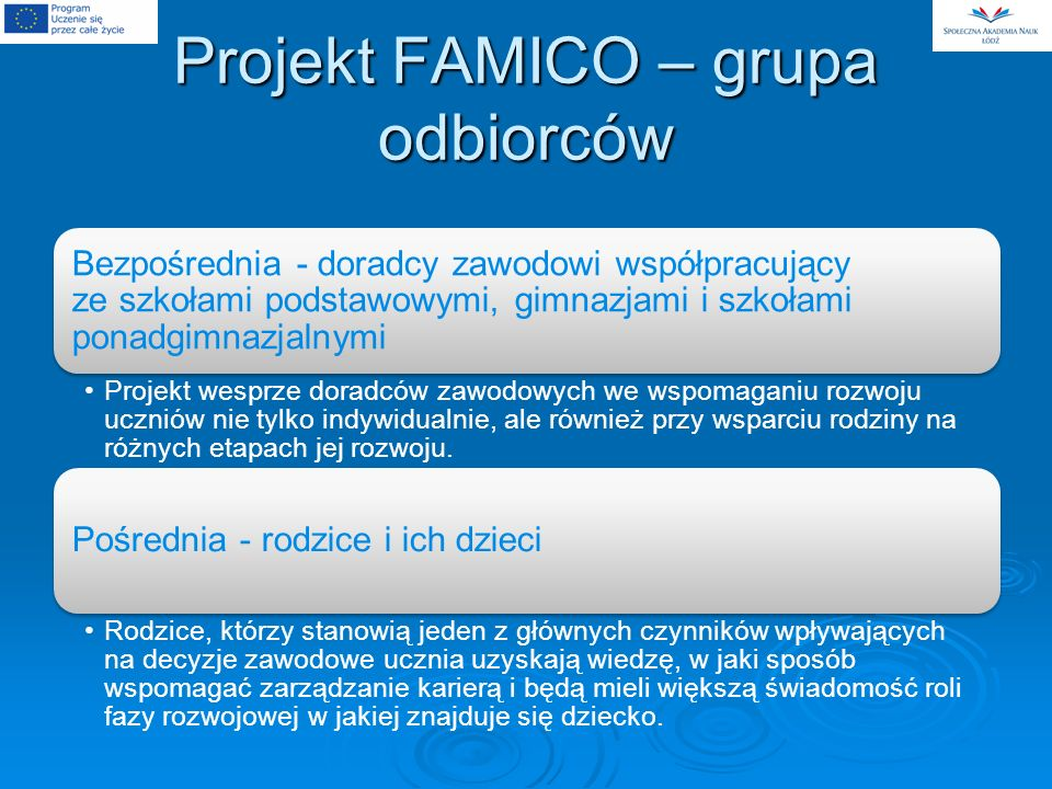 Projekt FAMICO – grupa odbiorców