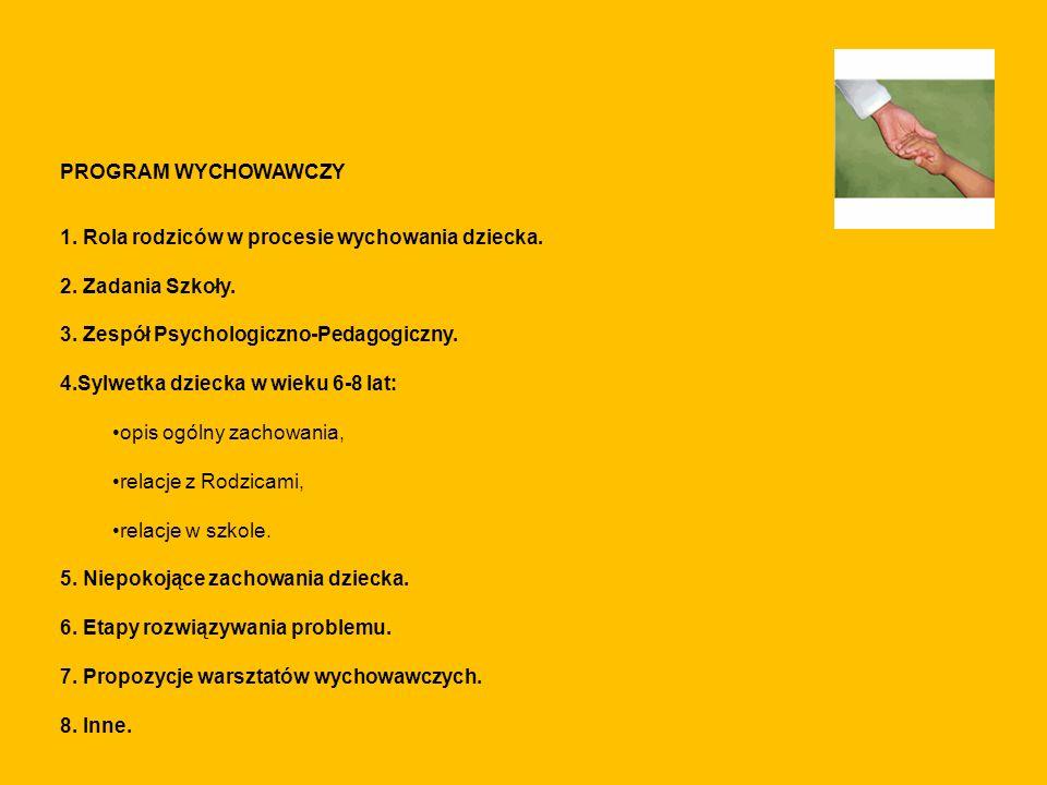 PROGRAM WYCHOWAWCZY. 1. Rola rodziców w procesie wychowania dziecka. 2. Zadania Szkoły. 3. Zespół Psychologiczno-Pedagogiczny.