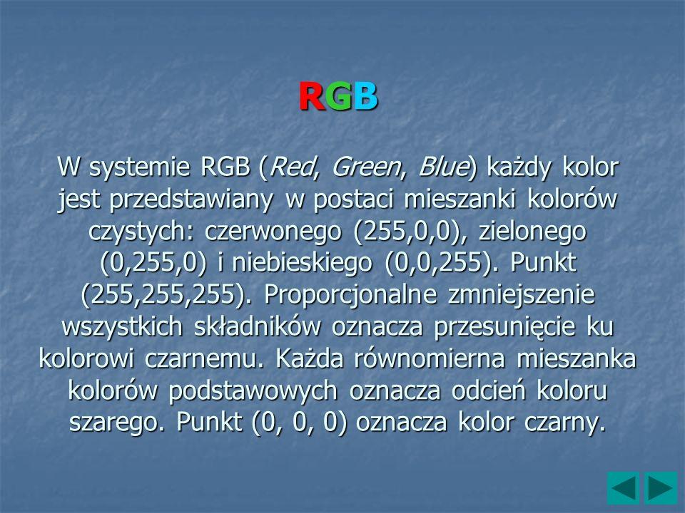 RGB W systemie RGB (Red, Green, Blue) każdy kolor jest przedstawiany w postaci mieszanki kolorów czystych: czerwonego (255,0,0), zielonego (0,255,0) i niebieskiego (0,0,255).