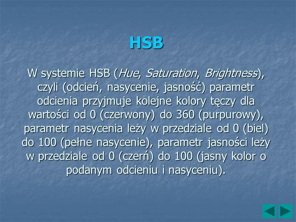 HSB W systemie HSB (Hue, Saturation, Brightness), czyli (odcień, nasycenie, jasność) parametr odcienia przyjmuje kolejne kolory tęczy dla wartości od 0 (czerwony) do 360 (purpurowy), parametr nasycenia leży w przedziale od 0 (biel) do 100 (pełne nasycenie), parametr jasności leży w przedziale od 0 (czerń) do 100 (jasny kolor o podanym odcieniu i nasyceniu).