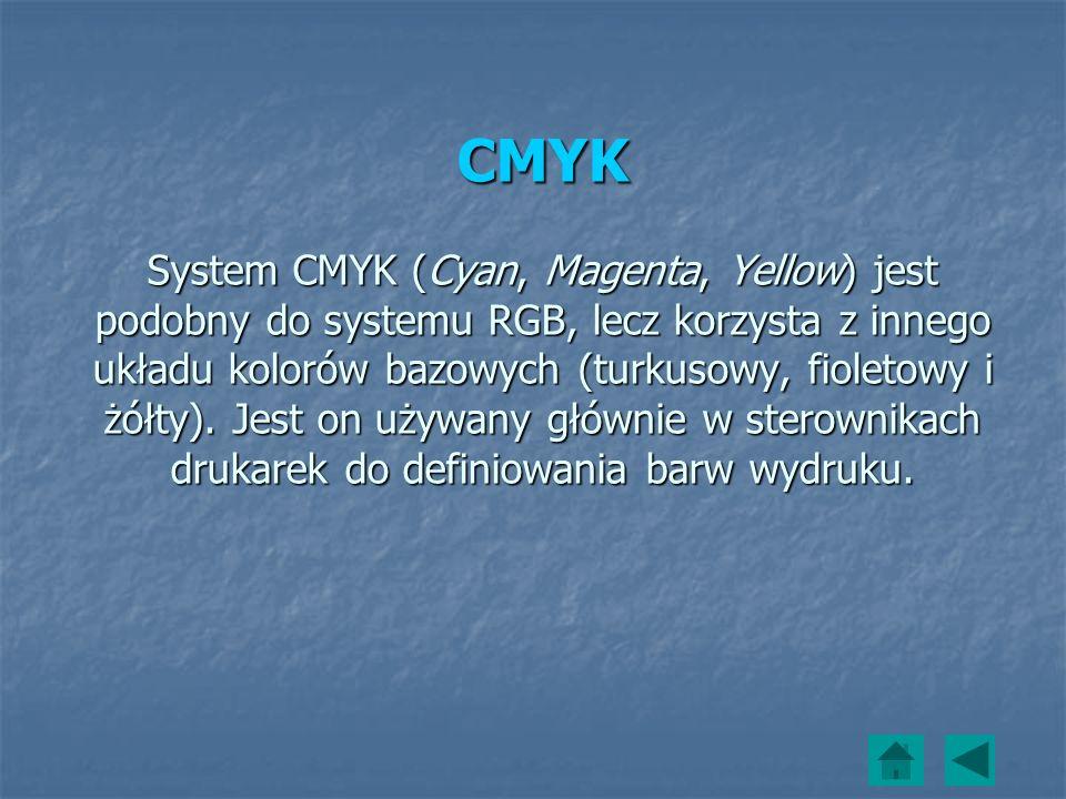 CMYK System CMYK (Cyan, Magenta, Yellow) jest podobny do systemu RGB, lecz korzysta z innego układu kolorów bazowych (turkusowy, fioletowy i żółty).