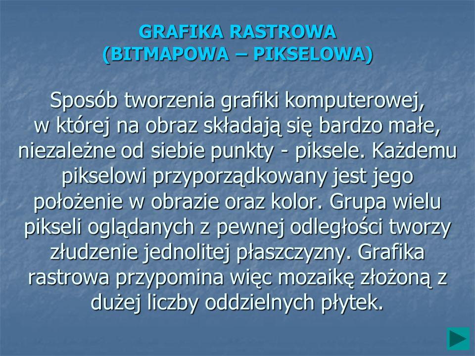 GRAFIKA RASTROWA (BITMAPOWA – PIKSELOWA) Sposób tworzenia grafiki komputerowej, w której na obraz składają się bardzo małe, niezależne od siebie punkty - piksele.