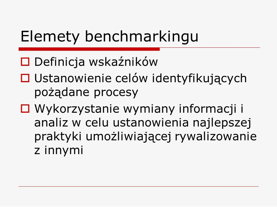 Elemety benchmarkingu