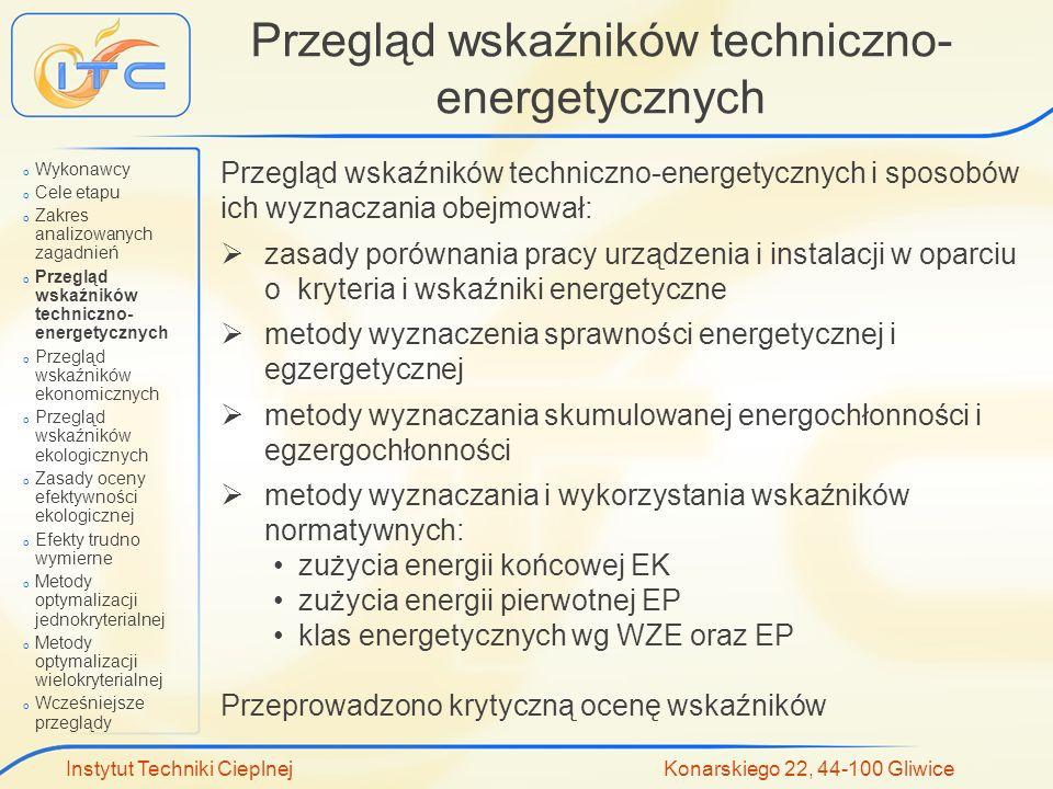 Przegląd wskaźników techniczno-energetycznych