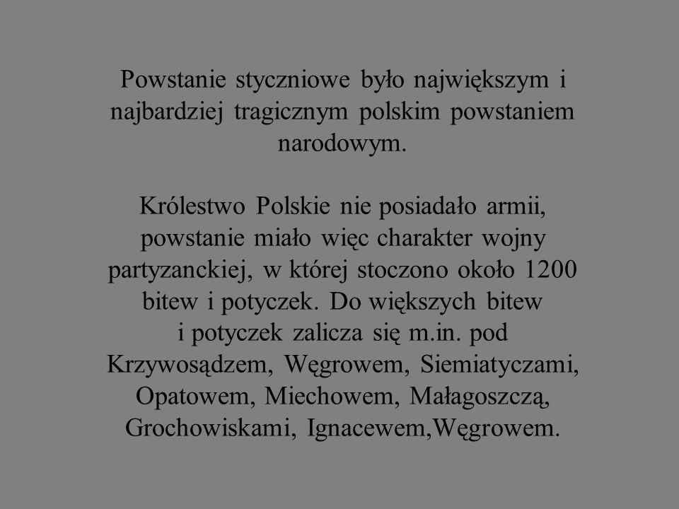 Powstanie styczniowe było największym i najbardziej tragicznym polskim powstaniem narodowym.