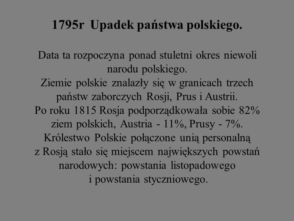 1795r Upadek państwa polskiego.